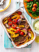 Baked Lamb Chops with Capsicum and Tomato