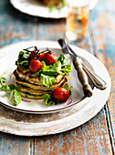 Rocket and Basil Pancakes with Tomato and Rocket Salad