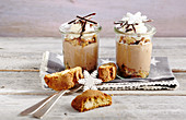Chocolate and espresso cream with cantucci and vin santo in jars
