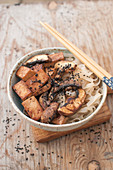 Vegan stir fry - rice noodles, tofu, mushrooms, sesame