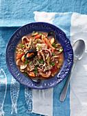 Minestra di farro con frutti di mare e scorfano (spelt soup with seafood and rose fish, Italy)