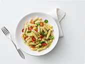 Fusilli with chickpea cream and cherry tomatoes
