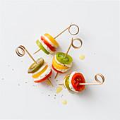 Colourful tomato and mozzarella skewers