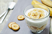 Banana yoghurt dessert in a glass