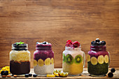 Various breakfast smoothies in jars