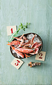 Fresh red mullet on ice