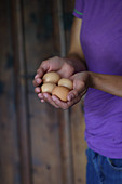 A woman holding four chicken eggs in her hands