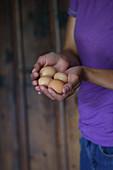 Frau hält vier Hühnereier in den Händen