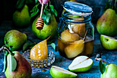 Poached and fresh pears