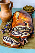 Poppy roll in a rustic style