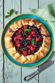 Hand-shaped berry pie
