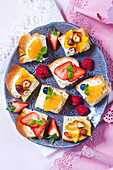 Sweet canapes with fruits