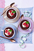 Chocolate cream with raspberries and cream