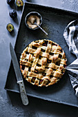 Damson lattice pie