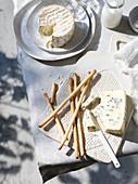 Camembert, Blauschimmelkäse und Grissini