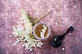Elderflower jelly and elderflowers