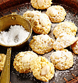 Arabic almond biscuits with rose water, lemon and icing sugar