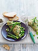 Omelett mit Spargel und Minze