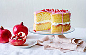 Pomegranate and rose petal sponge cake