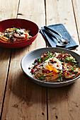 Wholegrain spaghetti with chorizo carbonara and a poached egg