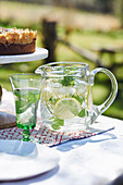Eiswasser mit Zitrone und Minze in Glaskaraffe und Glas