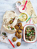 Falafel wraps with tabouleh