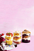 Strawberry and lime trifle, mango coconut and macadamia cheesecake, chocolate caramel nutty crunch