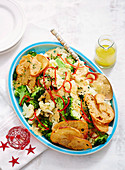 Broccoli salad with parmesan crisps