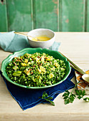 Broccoli tabbouleh with turmeric and buttermilk dressing
