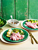 Broccoli tabbouleh with turmeric and buttermilk dressing, baked ham and boiled new potatoes