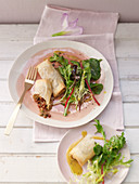 Mozzarella and mint borek with salad