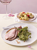 Pesto puree with roast veal and gratin artichoke halves
