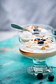 Vegan peanut butter pudding with soy cream and caramel