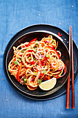 Sweet potato noodles with peppers and coriander