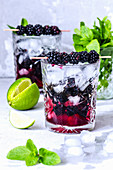 Lime, mint and blackberry kebabs on crystal glasses with ice and syrup
