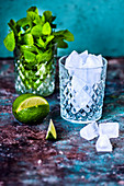 Lime, mint and ice in a crystal glass for mojito
