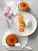 Strawberry flans with strawberry and pineapple carpaccio