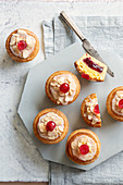 Bakewell tarts with cherries