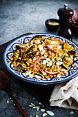Farro salad with roasted aubergines