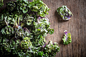 Kalettes on a wooden board