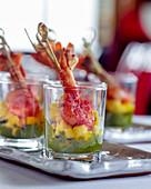 Tandoori prawns with mango in glasse