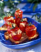 Stuffed tomatoes with taramasalata
