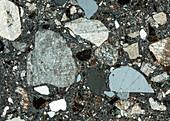 Quarzporphyr Eggental 95-3 Pol 30x - Rhyolith, Dünnschliff, 30:1