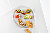 Sweet potato toast with colourful toppings