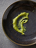 Wasabi paste in a ceramic bowl