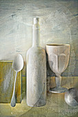 Food art: an arrangement of spoons, a wine bottle and a goblet (inspired by Giorgio Morandi)