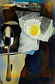 Food art: a collage with a spoon and a fried egg (inspired by Robert Motherwell)