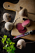 Beetroots on a wooden board