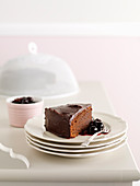 Chocolate mud cake with chilli cherries