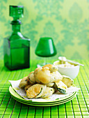 Zucchini fritters with skordalia